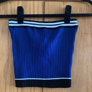 blue cropped tube top